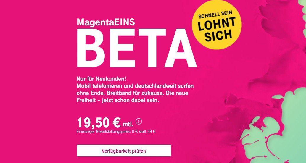 Telekom Neukunden: Telekom MagentaEINS Beta für 19,50€ mtl.   Unlimited (!) Internet zuhause + Mobilfunk
