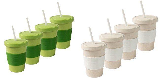 4er Set Coffee to go Bambus Kaffee Becher je 400ml für 9,99€ (statt 32€)