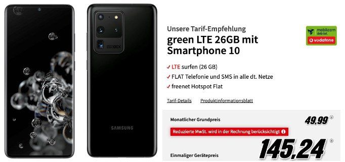 Samsung Galaxy S20 Ultra für 145,24€ mit Vodafone Allnet Flat inkl. 26GB LTE für 49,99€ mtl.
