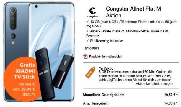 Xiaomi Mi 10 5G + Mi TV Stick für 95€ mit Telekom Allnet Flat inkl. 8GB LTE für 19,50€ mtl.