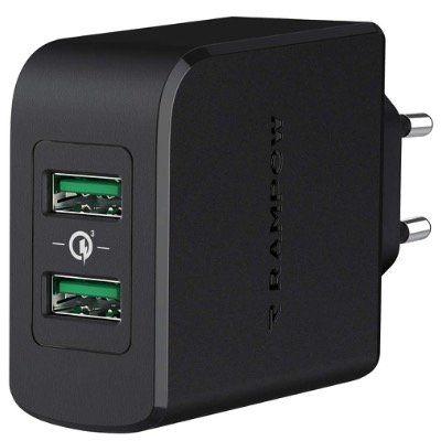 RAMPOW USB-Ladegerät mit QC 3.0 39Watt und 2x USB-Port in Schwarz für 9,59€ (statt 16€)
