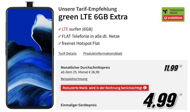 OPPO Reno2 Z 128GB für 4,99€ + Vodafone Flat mit 6GB LTE für 11,99€mtl.