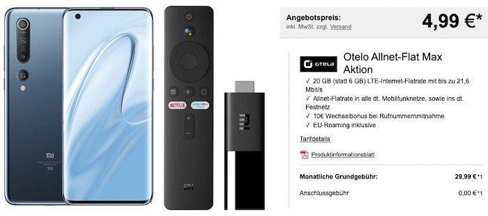 Xiaomi Mi 10 128GB 5G + TV Stick für 4,99€ + Vodafone Flat von otelo mit 20GB LTE für 29,99€mtl.