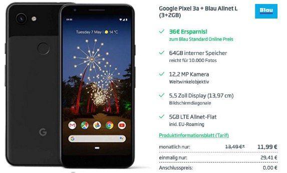 Google Pixel 3a 64GB für 29,41€ + o2 Allnet Flat mit 5GB LTE für 11,99€ mtl.