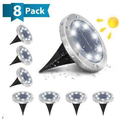 8x AMBOTHER Solar Bodenleuchten mit 8 LEDs 6000K Kaltweiß und IP65 für 29,39€ (statt 42€)