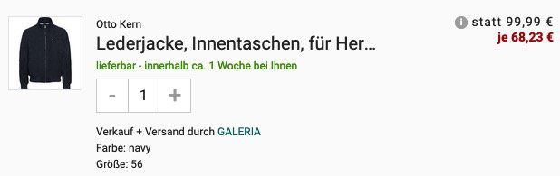 Otto Kern Lederjacke in 3 Farben für je 68,23€ (statt 140€)
