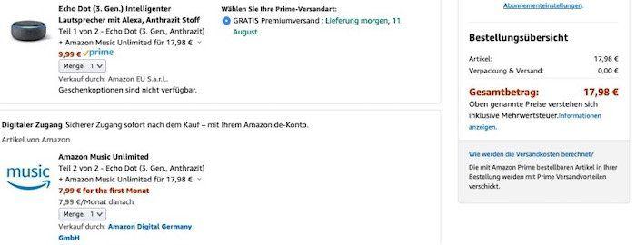 Ausgewählte Kunden: Amazon Echo Dot (3. Gen.) + Amazon Music Unlimited für 17,98€ (statt 42€)
