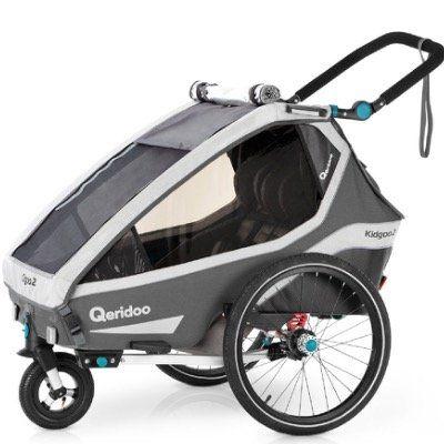 Qeridoo Kinderfahrradanhänger Kidgoo2 Grey Modell 2020 für 495,95€ (statt 588€)