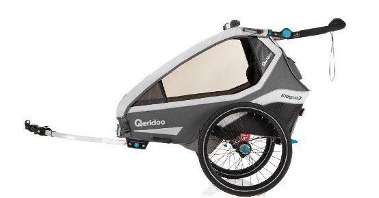 Qeridoo Kinderfahrradanhänger Kidgoo2 Grey Modell 2020 für 454,93€ (statt 564€)