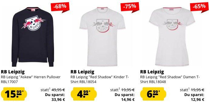 RB Leipzig Sale bei SportSpar + 5€ Gutschein ab 60€   z.B. RB Leipzig Askew Pullover für 15,99€ (statt 55€?)