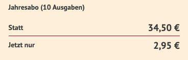10 Ausgaben Petra im Jahresabo für 2,95€ (statt 34,50€)   direkt ohne Prämie!