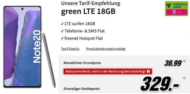 Samsung Galaxy Note 20 für 329€ + gratis Xbox Gaming Paket + Telekom/Vodafone Flat mit 18GB LTE für 36,99€mtl.