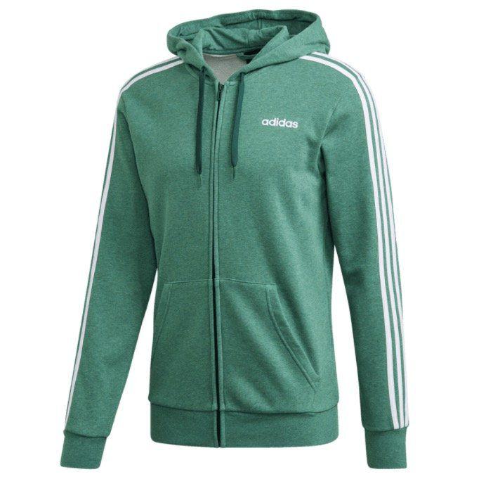 adidas Kapuzenjacke Essentials 3S FZ in Grün/Weiß für 29,95€ (statt 39€)
