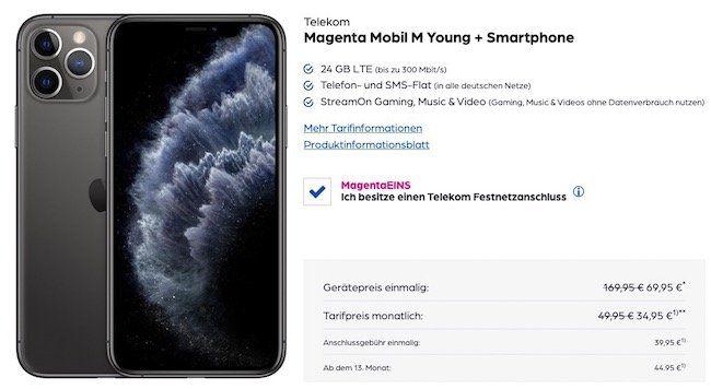 Young + MagentaEins: iPhone 11 Pro 64GB für 69,95€ + 100€ Cashback + Telekom Flat mit 24GB LTE für 39,95€ mtl.