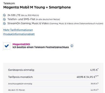 Young + MagentaEins: Apple iPhone 11 + AirPods Pro für 4,95€ + 100€ Cashback + Telekom Flat mit 24GB LTE für 39,95€ mtl.