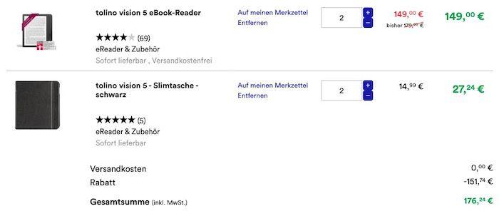 Vorbei! 🔥 2x Tolino Vision 5 eBook Reader mit 2x Slimtasche nur 176,24€ (statt 338€)   auch andere Reader