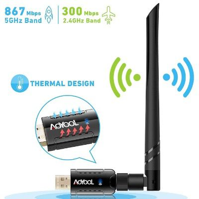 Aoyool WiFi-Adapter 1300Mbit/s (5.8G/867Mbps+2.4G/300Mbps) für 6,37€ (statt 13€)