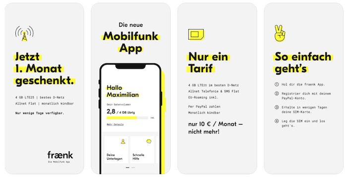 🔥 fraenk: Monatlich kündbare Telekom Allnet Flat mit 4GB LTE nur 10€ mtl.   wieder erster Monat gratis!