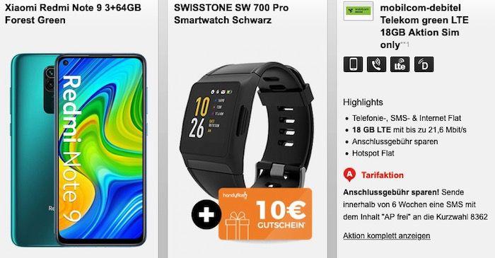 Smartwatch mit div. Smartphones ab 4,95€ mit Telekom Allnet Flat inkl. 18GB LTE für 20,99€ mtl.