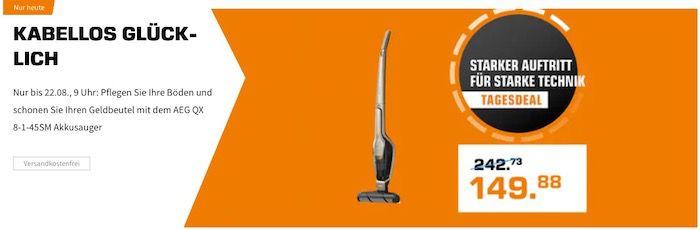 Deals im Saturn Shop Relaunch   z.B. AEG QX 8 Akkusauger mit Stiel ab 139,55€ (statt 264€)
