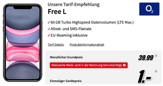 Apple iPhone 11 für 1€ + o2 Allnet Flat inkl. 60GB LTEMax für 39,99€ mtl. + 1 Jahr Apple TV gratis