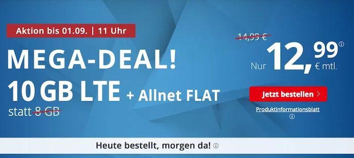 PremiumSIM: Allnet Flat im o2 Netz mit 10GB LTE für 12,99€   mtl. kündbar* + keine AG bei Laufzeit