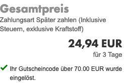 Abgelaufen! Bei Europcar Mietwagen buchen und 70€ sparen   fast kostenlos möglich!