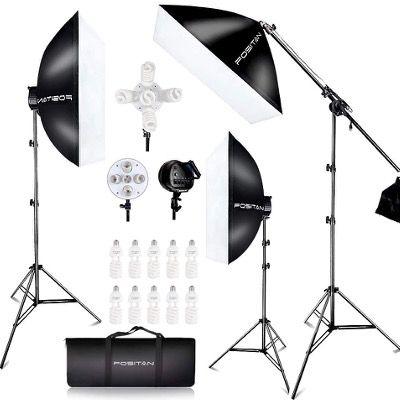 Photostudio Set mit 3 Softboxlampen 2500W und Lichtstativen für 82,99€ (statt 166€)