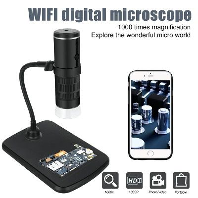 Digital WiFi Mikroskop 50x und 1000x Zoom 1080P mit Hubständer und LED Licht für 26,12€ (statt 39€)