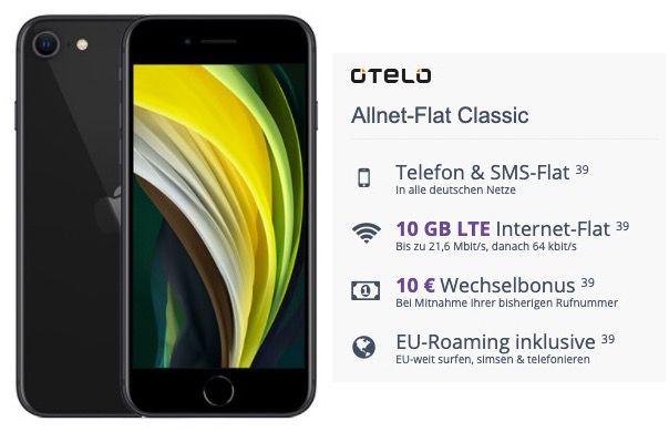 Apple iPhone SE (2020) 64GB für 95€ + Vodafone Flat von otelo mit 10GB LTE für 19,99€ mtl.