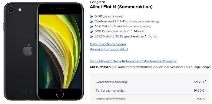 Abgelaufen! Apple iPhone SE (2020) 64GB für 59,95€ + 20€ Amazon Gutschein + Telekom Flat von Congstar mit 8GB LTE für 19,50€mtl.