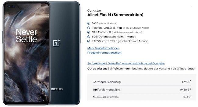 Ausverkauft! OnePlus Nord mit 128GB für 4,95€ + Telekom Flat von Congstar mit 8GB LTE für 19,50€ mtl.