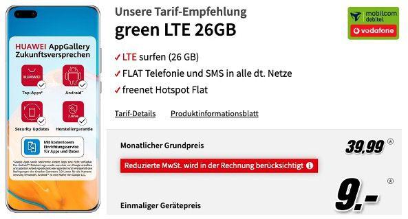 Huawei P40 Pro 256GB für 9€ mit Vodafone Allnet Flat mit 26GB LTE für 39,99€ mtl.