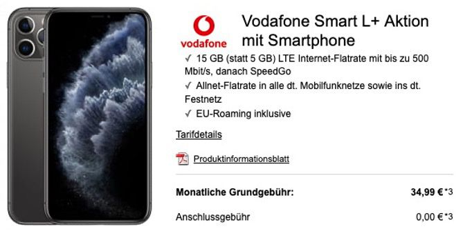 iPhone 11 Pro 64GB für 199,95€ + Vodafone Flat mit 15GB LTE für 34,99€ mtl.