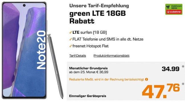 Samsung Galaxy Note 20 für 47,76€ + Vodafone Flat mit 18GB LTE für 34,99€mtl.