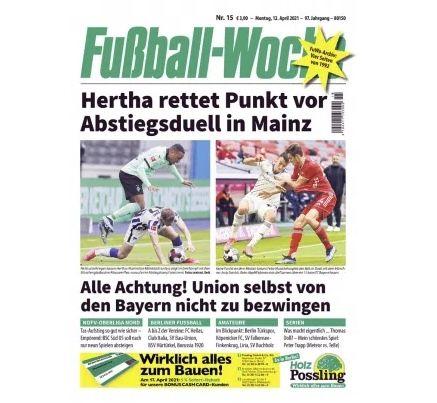 12 Ausgaben Fußball Woche für 36€ – Prämie: 35€ BestChoice Gutschein