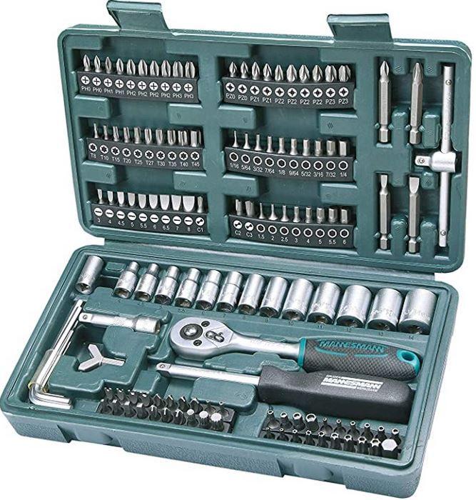 Brüder Mannesmann M29166 Steckschlüssel und Bitsatz 130 Teile für 14,99€ (statt 20€) Prime