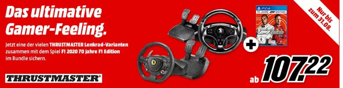 Bundle: THRUSTMASTER T150 RS Lenkrad + Pedal + PS4 Game F1 2020 ab 145,86€ (statt 202€)