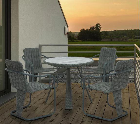 Gartenmöbelset Christina in Grau 4Stühle + Glastisch für 119€ (statt 170€)