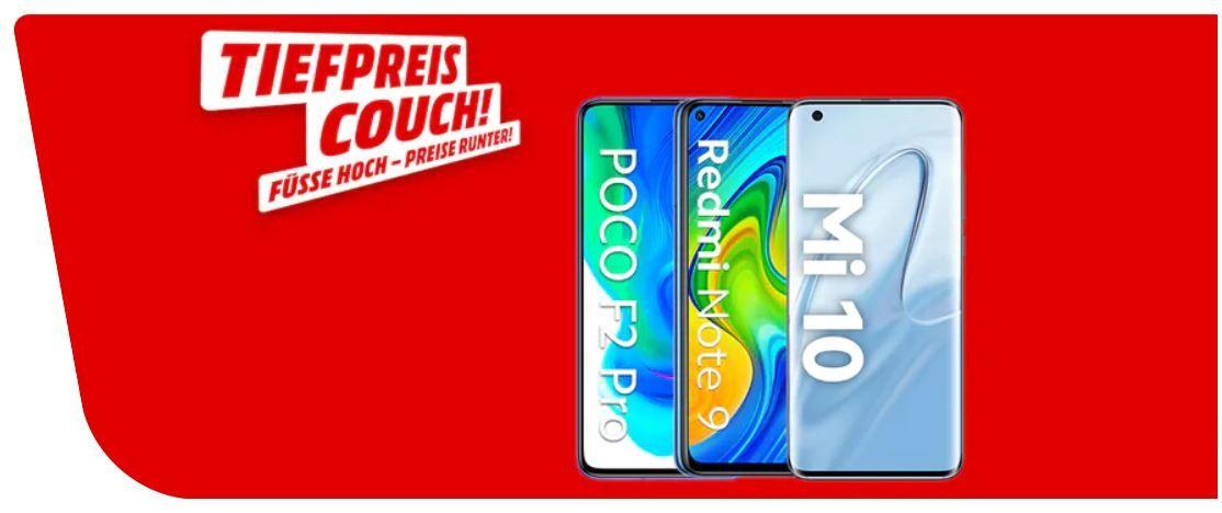 Media Markt XIAOMI Tiefpreiscouch: z.B. XIAOMI Redmi Note 9 64 GB Dual SIM ab 125,50€ (statt 160€)
