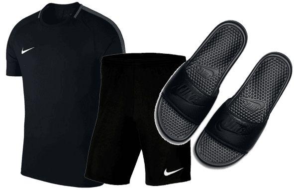 Nike Freizeit Outfit (3 teilig)   Shirt, Short & Badesandalen für 36,90€ (statt 47€)