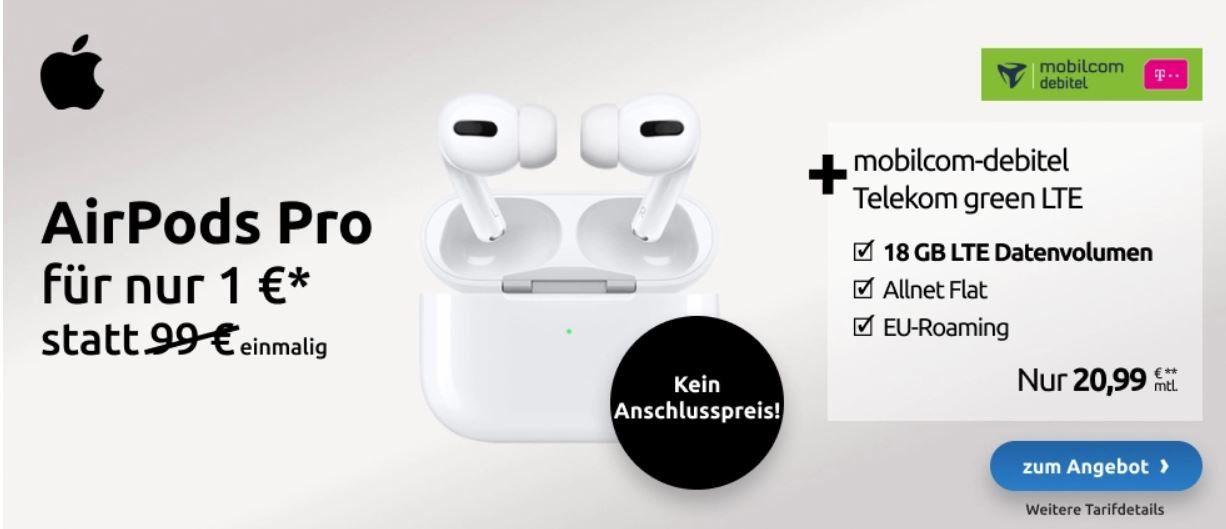 Apple AirPods Pro + Telekom AllNet & SMS Flat + 18GB LTE (21Mbit) für 20,99€ mtl.