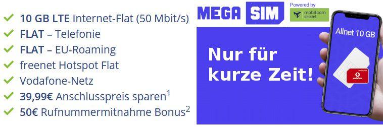 TOP! Vodafone Allnet Flat + 10GB LTE50 für 11,99€ mtl. + 50€ Bonus bei Rufnummernmitnahme
