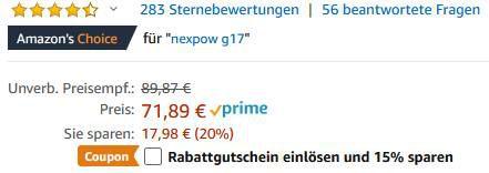 NEXPOW G17   12V Starthilfe 1500A für 50,33€ (statt 71€)