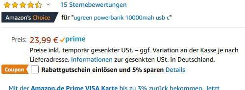 UGREEN 18W USB C Powerbank mit 10.000mAh & QC 3.0 für 12,99€ (statt 24€)