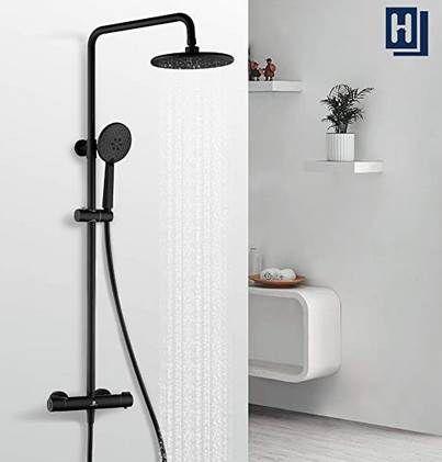 Homelody F54070HD13 Duschsystem in Schwarz mit Regendusche & Thermostat für 99,99€ (statt 136€)