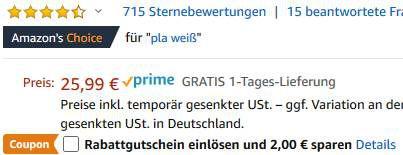 1kg GIANTARM PLA Filament (1.75mm) in Weiss für 13,99€ (statt 26€)