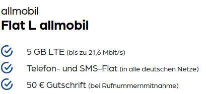 Vodafone Allnet Flat 5GB LTE für 7,99€mtl. + 50€ Rufnummern Bonus + 50€ Amazon Gutschein