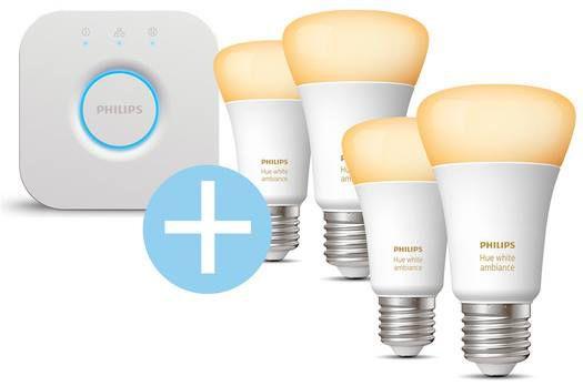 Philips Hue Starterkit 4 x E27 LED White Ambiance + Bridge (2.0) für 93,95€ (statt 115€)