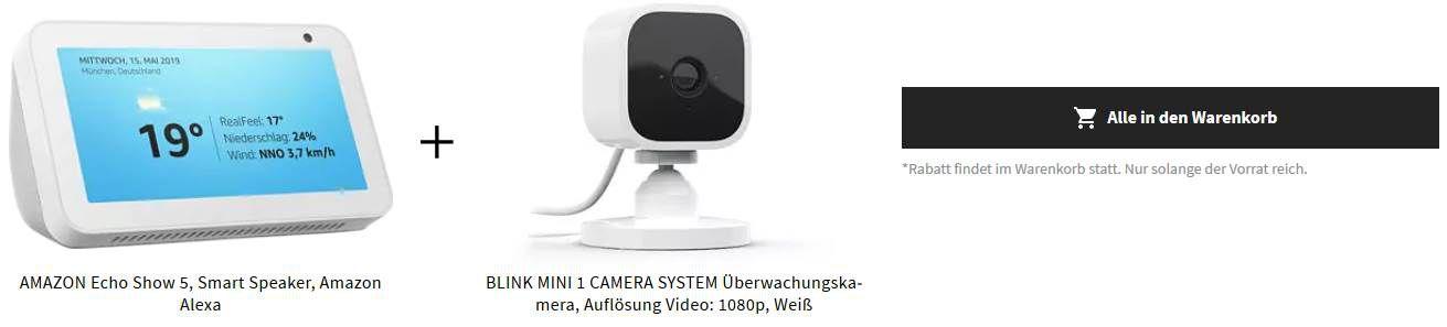 Amazon Echo Show 5 + Blink Mini Überwachungskamera für 78,21€ (statt 100€)